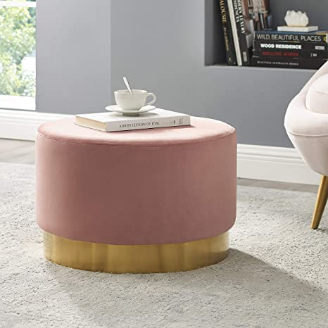 Brilliant Art Leon Round Ottoman Large Velvet Tufted Upholstered Footrest Stool Ottoman With Gold Plating Base For Living Room Bedroom Home Office Pink Pdpeps Interior Chair Design Pdpepsorg