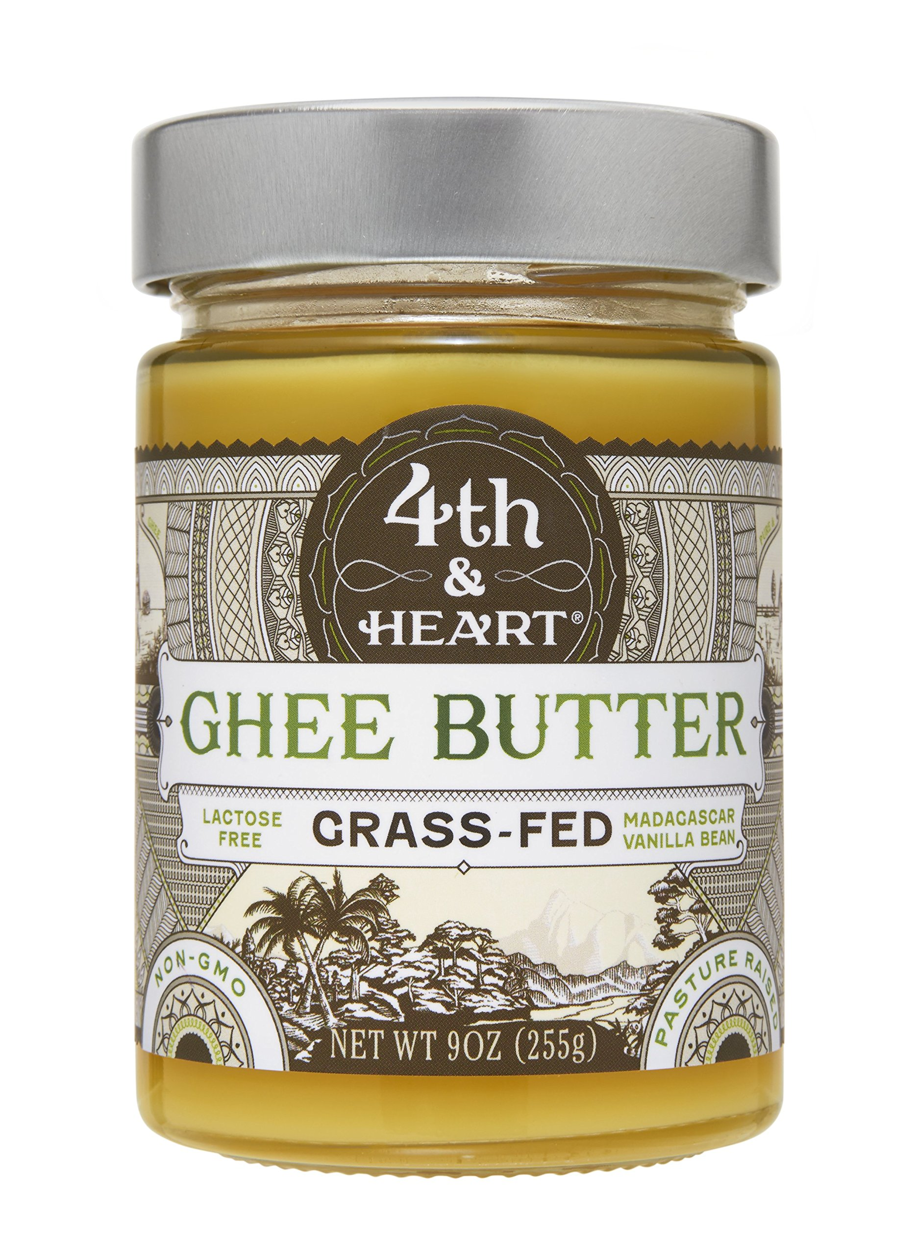 Vanilla Bean Grass-Fed Ghee Butter by 4th & Heart, 9 Ounce, Pasture Raised, Non-GMO, Lactose Free, Certified Paleo