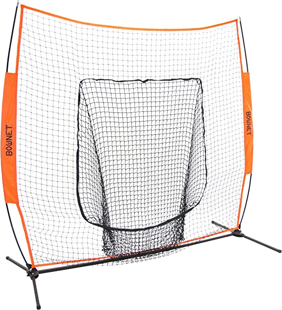 Bownet 7' x 7' Big Mouth X - Portable Sock Net for Baseball and Softball Hitting and Pitching, Orange, 34