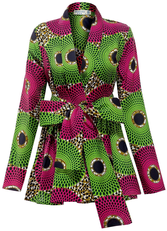 Shenbolen Women African Traditional Batik Print Long Sleeve Shirt Dashiki Casual Cotton Shirt YZ281