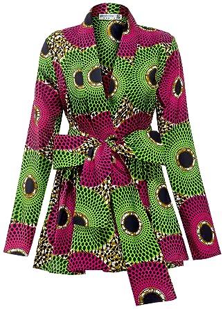 c32ee6c9 Amazon.com: Shenbolen Women African Traditional Batik Print Long Sleeve Shirt  Dashiki Casual Cotton Shirt: Clothing