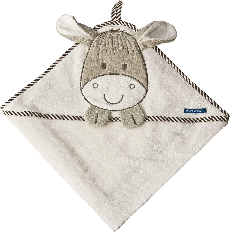 Morgenstern Kapuzentuch 100 x 100 cm mit Esel-Motiv für Kinder Babys beige 8821-00-00