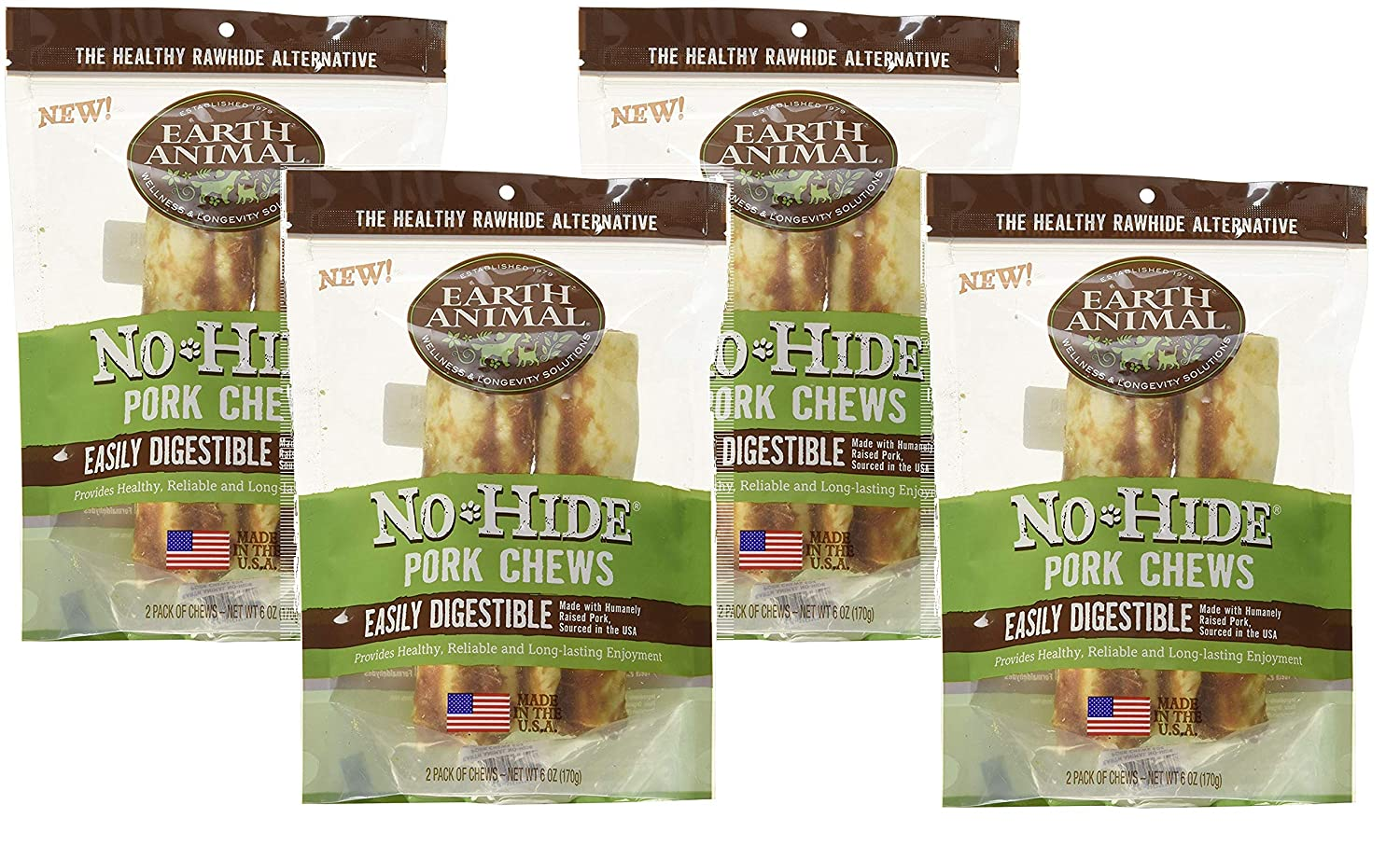 Earth Animal 6 Pack of No-Hide Pork Chews, 7 Each