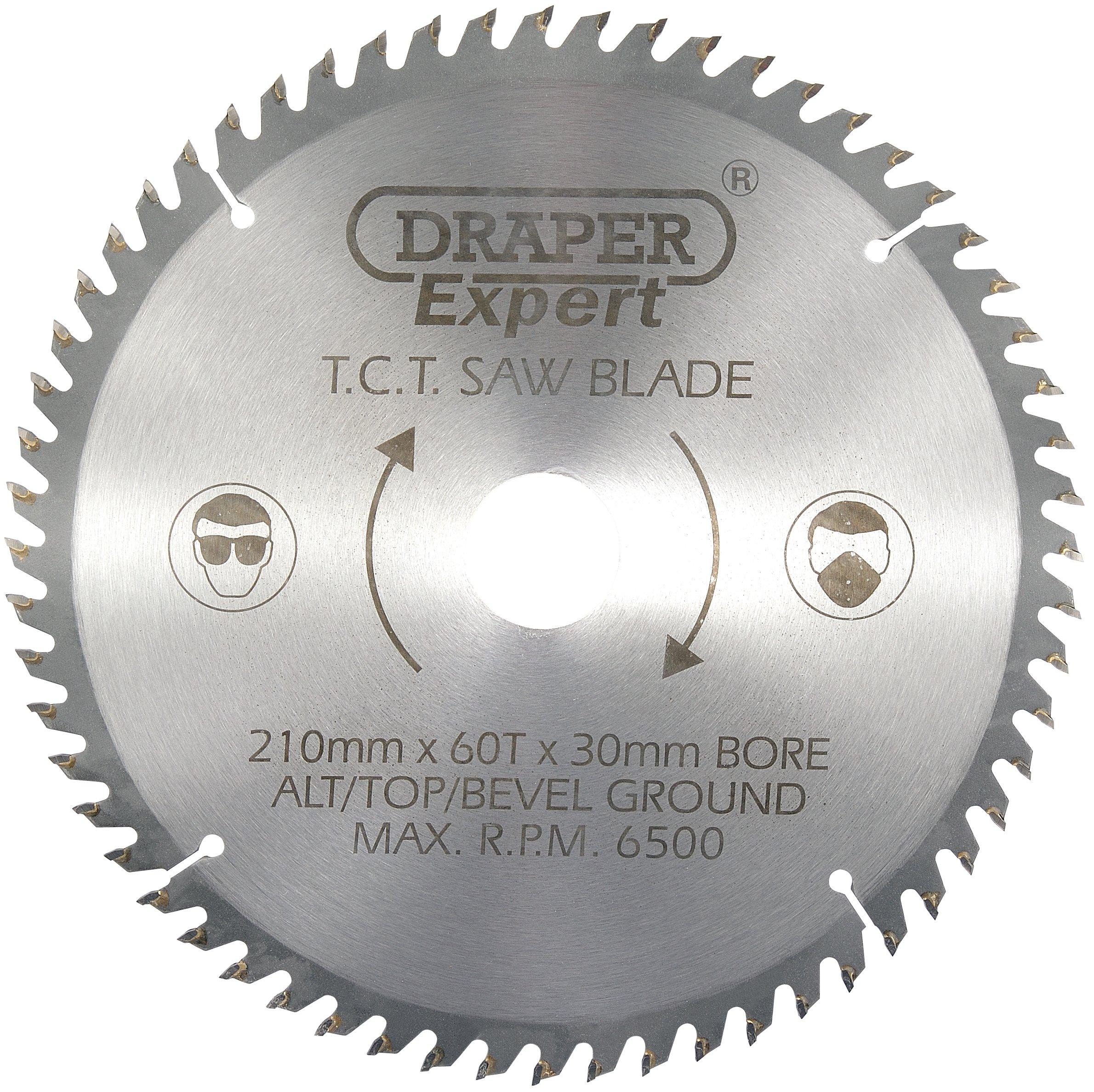 Draper 09478 TCT - Cuchilla de sierra circular (210 x 30 mm, 60 dientes