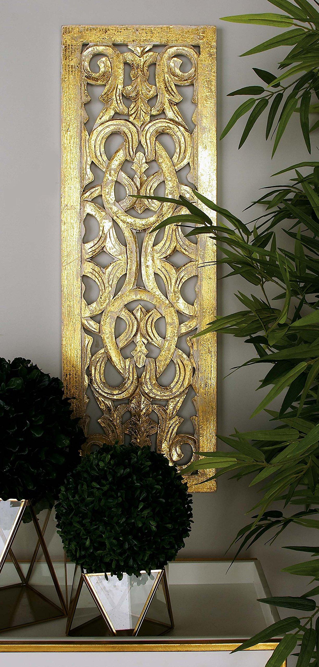 Deco 79 96070 Wood Wall Panel, 12'' x 36'', Gold