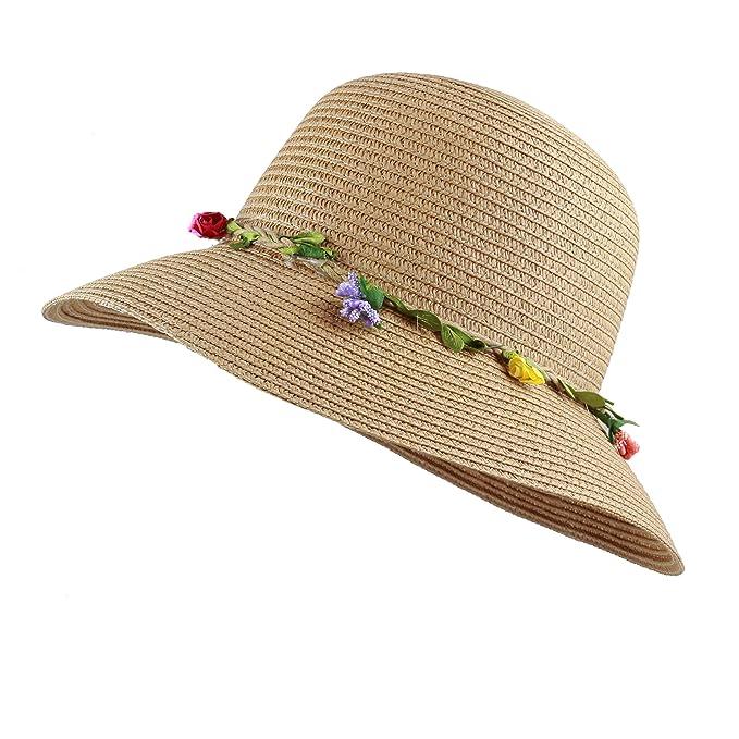 83c838971b7f8 THE HAT DEPOT Womens Floppy Summer Sun Beach Wide Brim Straw Hat (FH11)