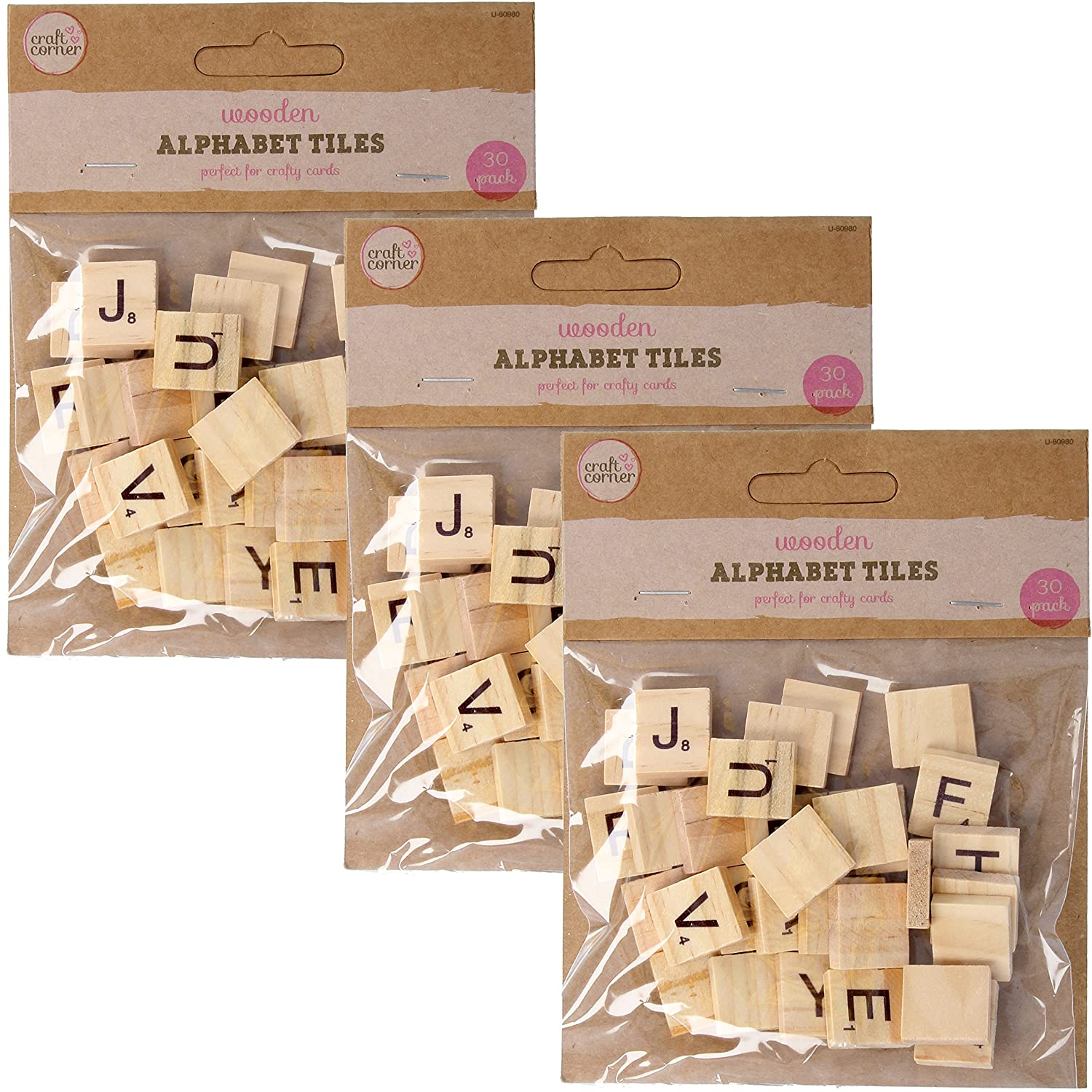 90Pc Wooden Alphabet Tiles | Wood Board Game Replacement Arts & Crafts Letters White Hinge
