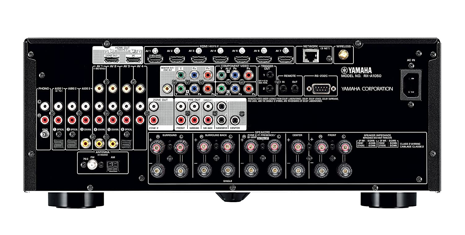 Yamaha RX-A1050 7 2-Channel MusicCast AV Receiver with Built-In Wi-Fi and  Bluetooth (Black), Works