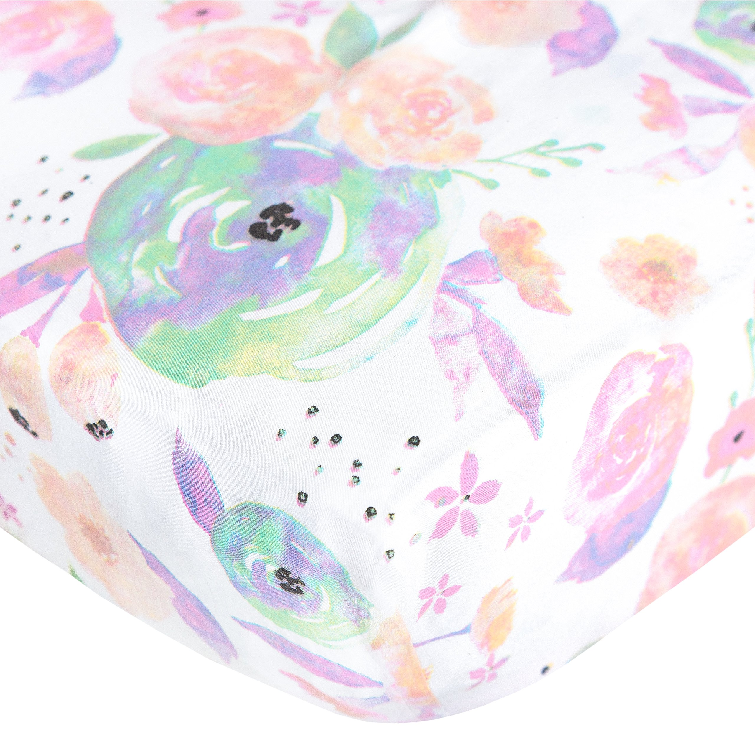 Premium Fitted Cotton Crib Sheet / Toddler Sheet ''Bloom Floral'' by Copper Pearl