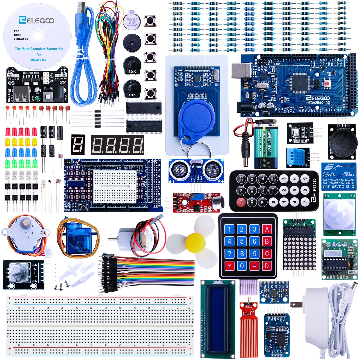 ELEGOO Mega 2560 Project The Most Complete Ultimate Starter Kit w/Tutorial Compatible with Arduino IDE by ELEGOO