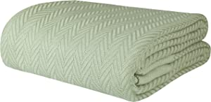 Threadmill Home Linen 100% Combed Cotton Blanket Herringbone Soft Breathable Full/Queen Size Sage