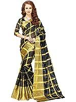 Glory Sarees Women's Cotton Silk Saree With Blouse Piece (Jari116, Black, Free Size)