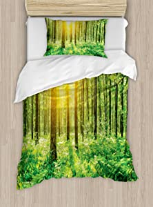 Ambesonne Woodland Duvet Cover Set, Forest Springtime Freshness Theme Foliage Sunbeams Sunrise Nature View Scene, Decorative 2 Piece Bedding Set with 1 Pillow Sham, Twin Size, Yellow Green