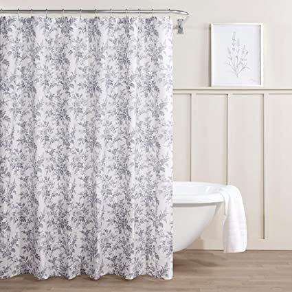 Laura Ashley Annalise Floral Shower Curtain 72 X Medium Gray
