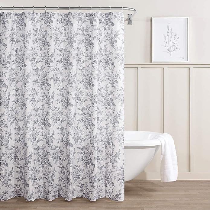 Annalise Floral Shower Curtain Gray - Laura Ashley