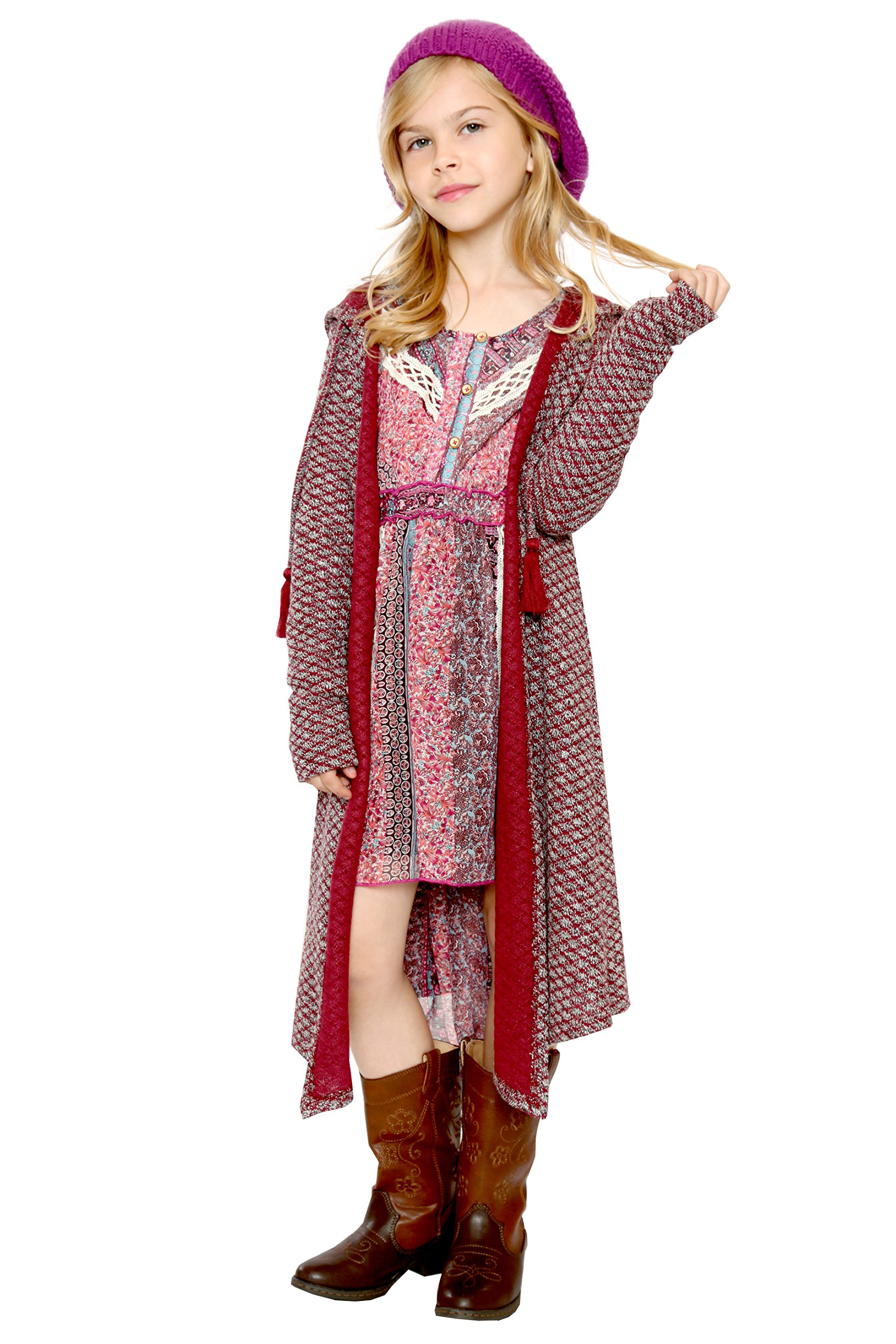 Truly Me, Big Girls Knit Long Sweater, 7-16 (16, Burgundy)