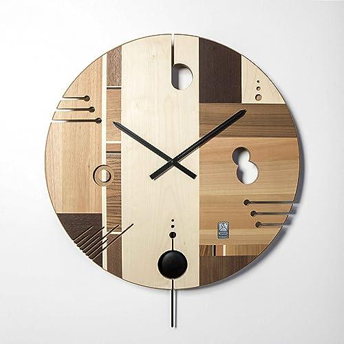 Midarte ESSENTIAL Maple, Orologio da parete in legno intarsiato ...
