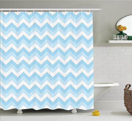 Found it at wayfair new blue aqua white shower curtain for Zig zag bathroom decor