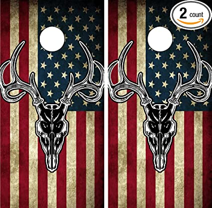 Admirable C201 American Flag Deer Cornhole Wrap Wraps Laminated Board Boards Decal Set Decals Vinyl Sticker Stickers Bean Bag Game Vinyl Graphic Tint Image Spiritservingveterans Wood Chair Design Ideas Spiritservingveteransorg