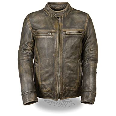 0c48cde4d Mens Distressed Leather Scooter Jacket with Venting