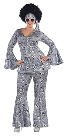 Suit Yourself Dancing Queen Disco Costume for Adults, Plus Size, Includes a  Matching Top, Flare Pants, and a Headscarf