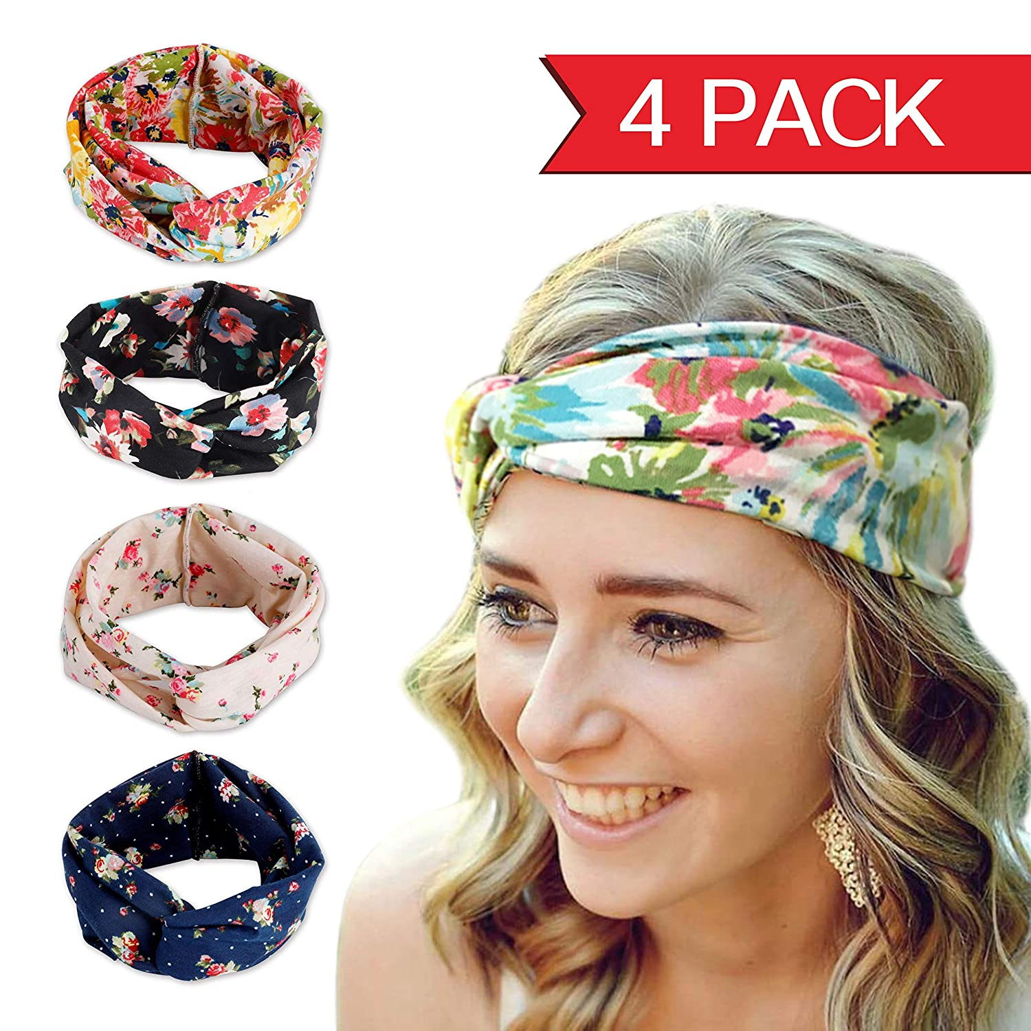 46ed077e95a3 Amazon.com   Fashion Elastics Headbands for Women - Angel Kiss 4 Pack  Multi-Style Boho Floal Style Criss Cross Head Wrap Hair Wrap Band - Perfect  for Yoga ...
