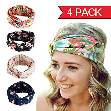 102acebab80 Fashion Elastics Headbands for Women - Angel Kiss 4 Pack Multi-Style Boho  Floal Style