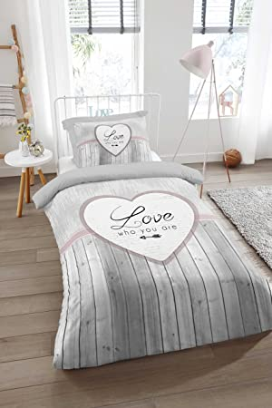 Aminata Bettwäsche 135x200 Cm Baumwolle Reißverschluss Herz Love