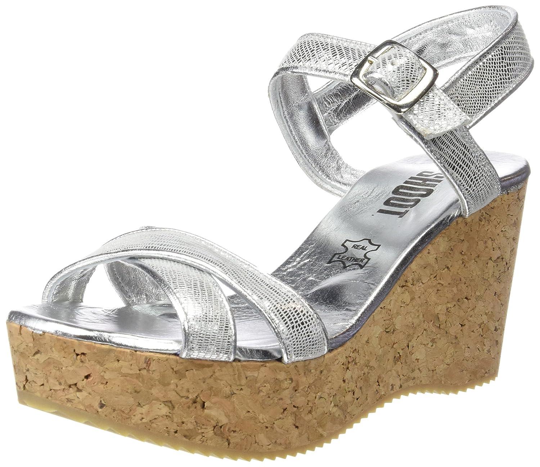 Shoot Shoot Shoes Sh-160030cc Damen Sommer Keil Sandalette Wedges - Sandalias Mujer 38 EU Plata