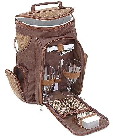 Brubaker Wein oder Champagner Picknicktasche Rucksack mit Gl/äsern f/ür 2 Personen mit K/ühlfach Braun 20 /× 17 /× 36 cm