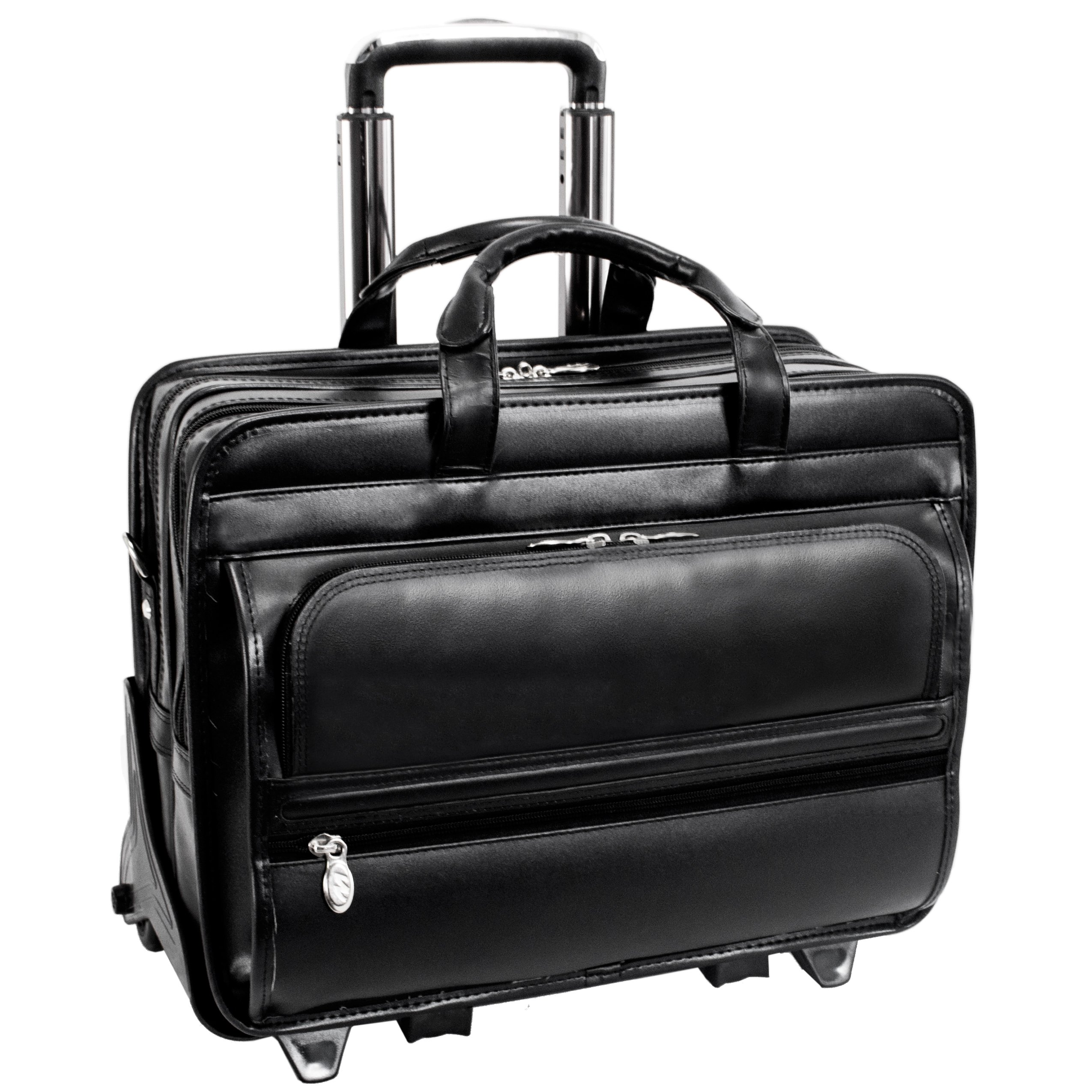 McKleinUSA FRANKLIN 86445 Black Leather 17 Detachable Wheeled Laptop Case US PATENT # 6,595,334 by McKleinUSA