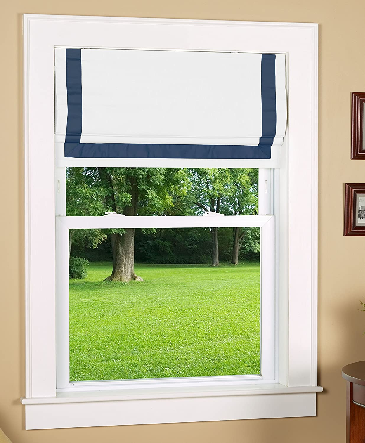 Size 30 Wide x 63 Long White Face Fabric with Navy Blue Border Green Mountain Vista Thermal Blackout Cordless Roman Shade with Ribbon Border