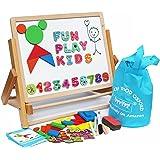 Toys of Wood Oxford caballete infantil- doble cara tablero magnético - con formas magnéticas, números de letras y rollos de papel