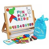Toys of Wood Oxford Cavalletto per bambini - lavagna magnetica per bambini con lettere, forme magnetiche, numeri magnetici e rotolo di carta da dipingere