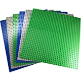 Apostrophe Games Classic Building Block Base Plates Compatible with All Major Brands (6-Pack (Green, Blue, Gray))