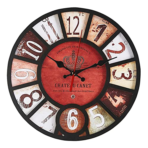 K nigswerk 14 Inch Wall Clock Silent Non Ticking Battery Operated Easy to Read Classic Round Wood Clock Decorative for Living Room Home Office Classroom School