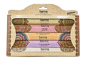 Karma Scents Premium Incense Sticks, Lavender, Sandalwood, Jasmine, Rose, Vanilla, Variety Gift Pack 85 Sticks, Includes a Holder (Variety)