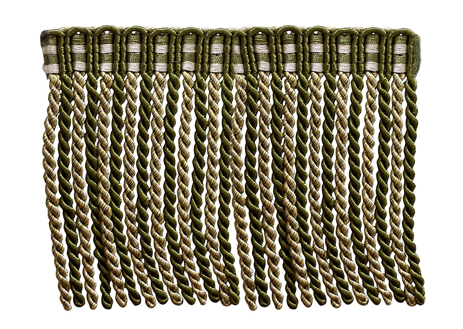 5.4 Yard Value Pack of 6 Inch Long Bullion Fringe Trim, Style# DB6 - Olive Green, Light Gold, White - Olive Garden 010 (16 Ft / 5 Meters) DecoPro