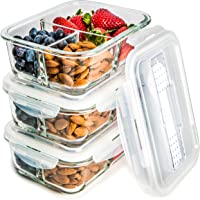 3-Pack Glass Meal Prep Containers 3 Compartment