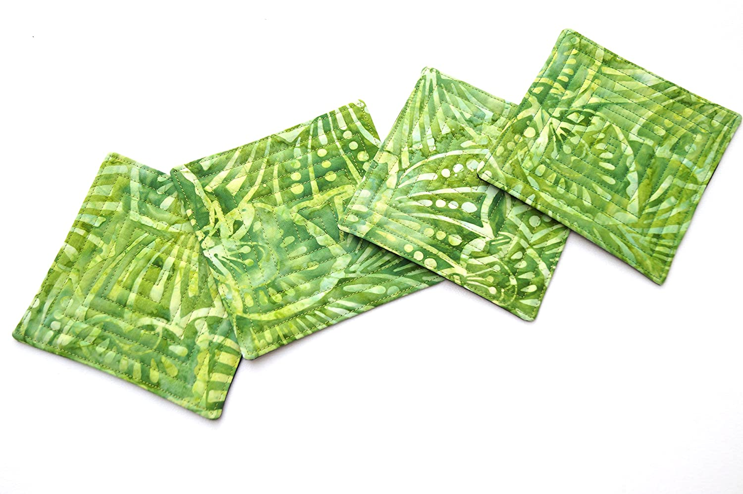 Batik Quilted Fabric Coaster Set in Shades of Green
