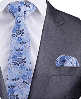GUSLESON Quality Floral Necktie and Pocket Square Set with Box
