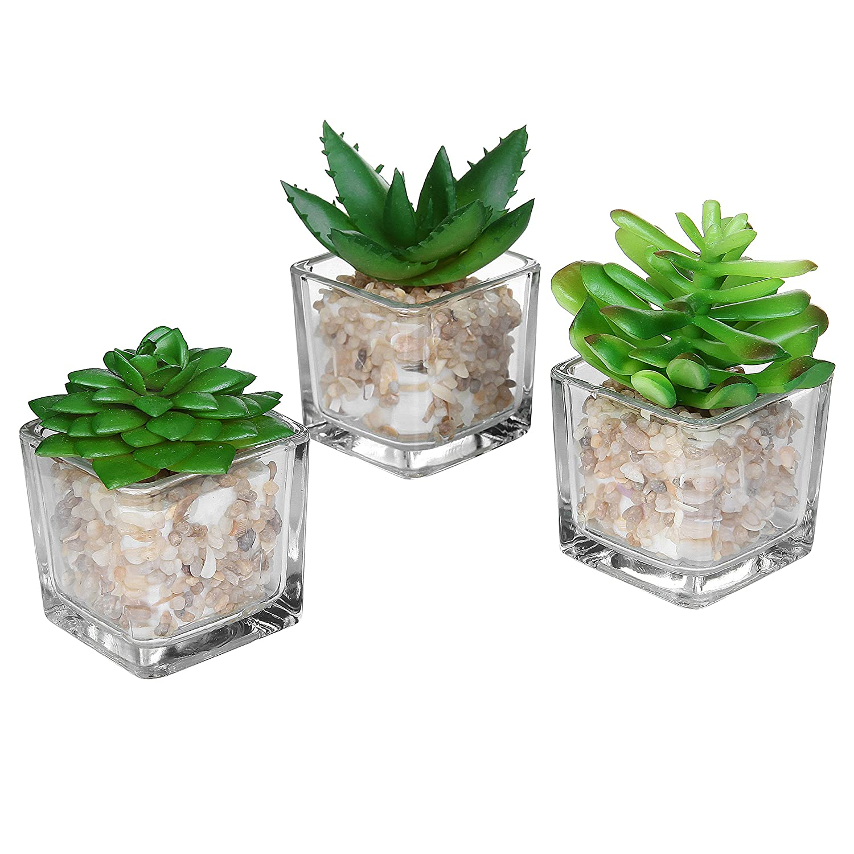 MyGift Small Glass Cube Artificial Plant Modern Home Decor/Faux Succulent Planter Pots, Set of 3