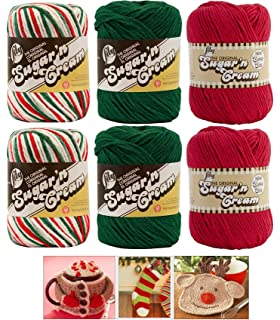 Lily Sugar n Cream Variety Assortment Holiday 6 Pack Bundle 100 Percent Cotton Medium 4