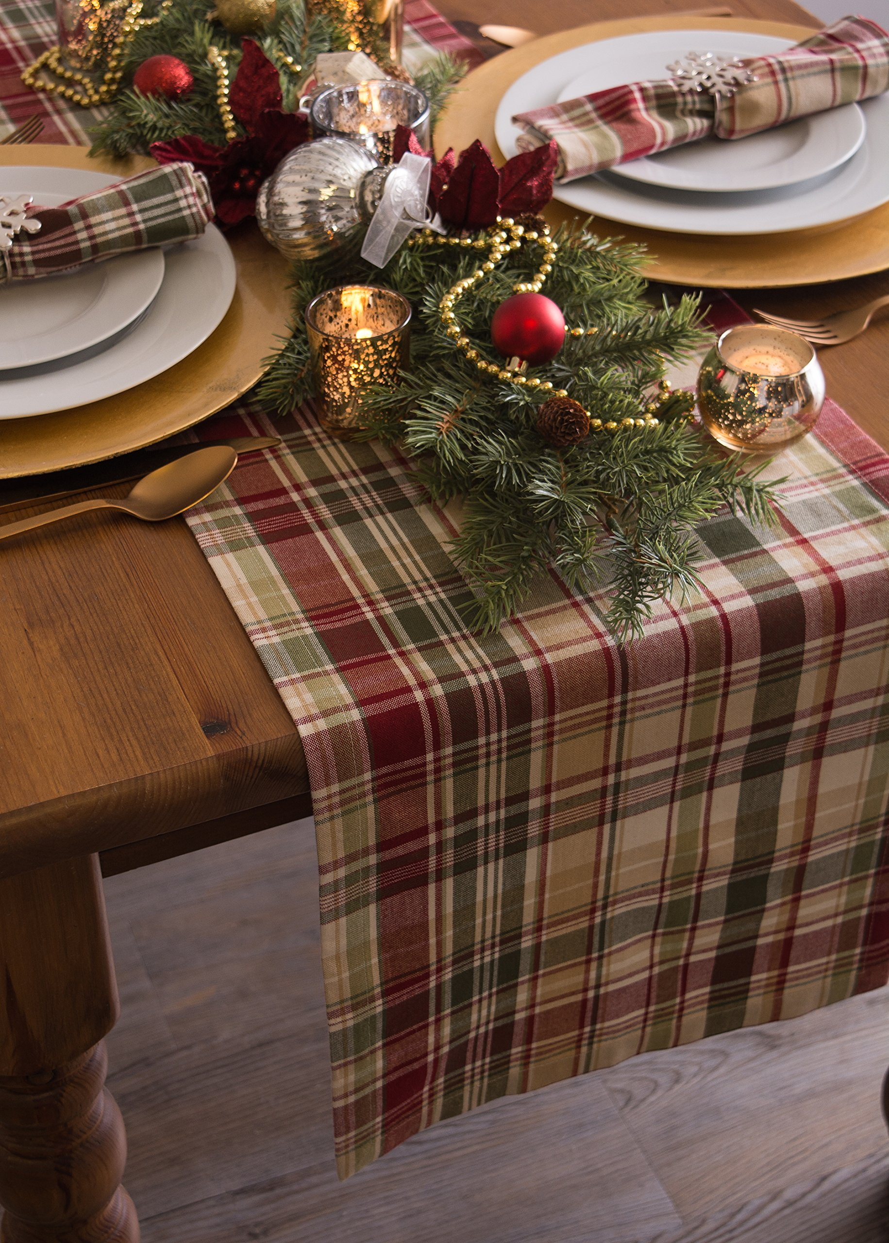 Cabin Plaid 100% Cotton Table Runner (14x108'') by DII (Image #8)