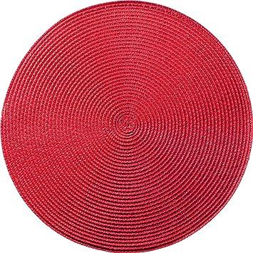 Tischset Platzset Rot Rund Geflochten 35cm Amazon De Kuche Haushalt