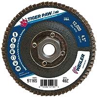 Weiler 51165 Tiger Paw XHD Super High Density Abrasive Flap Disc, Type 27 Flat Style, Phenolic Backing, Zirconia Alumina, 4-1/2