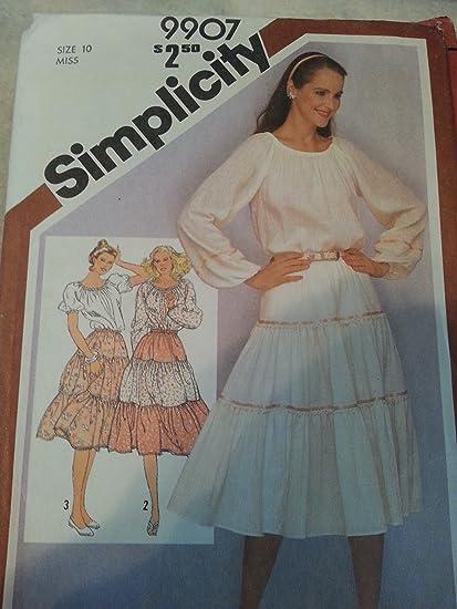 Amazon.com: Simplicity 9907 – Blusa campesina y niveles de ...