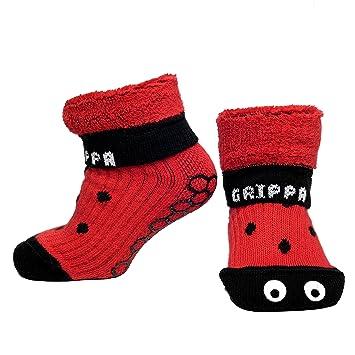 """""""GRIPPA"""" calcetines antideslizantes para niños con diseño de mariquita. Hechos en Gran"""