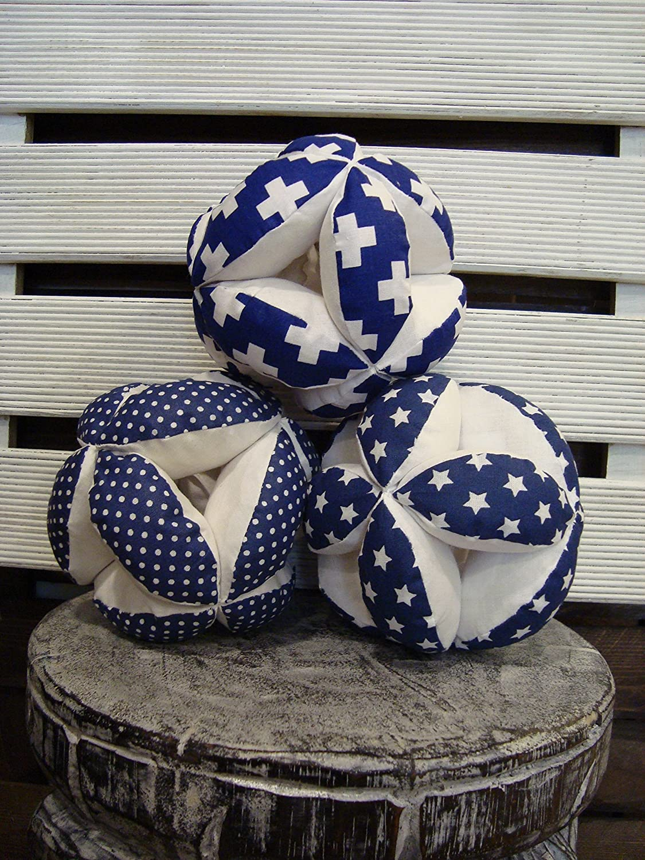 Navy blue puzzle ball, Montessori baby toy, fabric plus signs ball, navy blue dots ball,navy blue stars ball, navy blue nursery