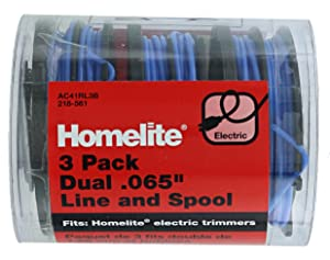 "Homelite Genuine OEM AC41RL3 Autofeed Dual .065"" Replacement Line and Spool Pack for Homelite Electric String Trimmers (3 Pack)"